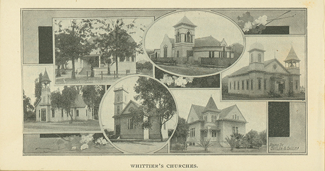 """Whittier's Churches."" From pamphlet Whittier, California published 1902 by the Board of Trade (later Chamber of Commerce)."