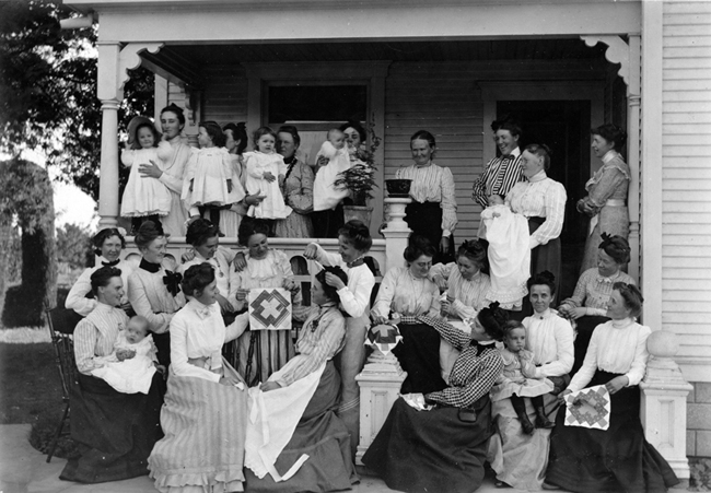 """Quilting Party"". Whittier Public Library Historical Photograph Collection. PEO-089E."